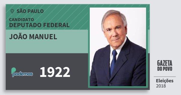 Santinho João Manuel 1922 (PODE) Deputado Federal | São Paulo | Eleições 2018