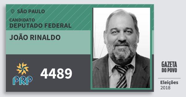 Santinho João Rinaldo 4489 (PRP) Deputado Federal | São Paulo | Eleições 2018