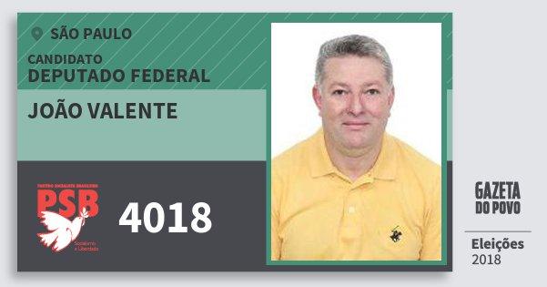 Santinho João Valente 4018 (PSB) Deputado Federal | São Paulo | Eleições 2018