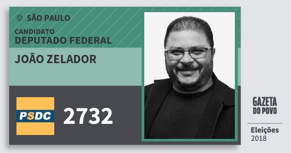 Santinho João Zelador 2732 (DC) Deputado Federal | São Paulo | Eleições 2018