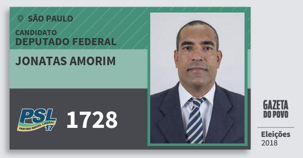 Santinho Jonatas Amorim 1728 (PSL) Deputado Federal | São Paulo | Eleições 2018