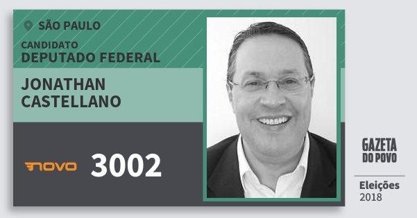 Santinho Jonathan Castellano 3002 (NOVO) Deputado Federal | São Paulo | Eleições 2018