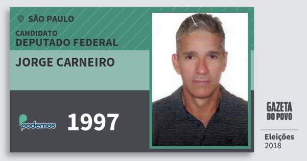 Santinho Jorge Carneiro 1997 (PODE) Deputado Federal | São Paulo | Eleições 2018