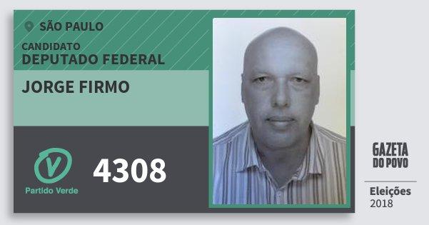 Santinho Jorge Firmo 4308 (PV) Deputado Federal | São Paulo | Eleições 2018