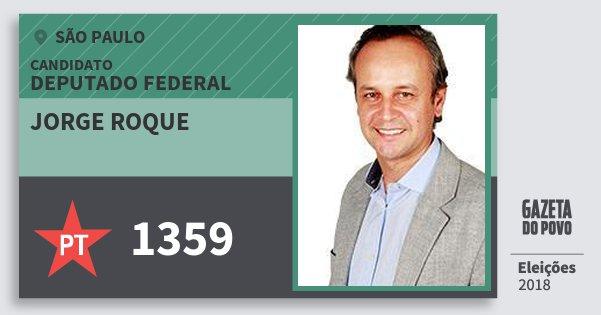 Santinho Jorge Roque 1359 (PT) Deputado Federal | São Paulo | Eleições 2018