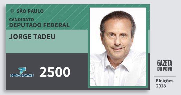 Santinho Jorge Tadeu 2500 (DEM) Deputado Federal | São Paulo | Eleições 2018