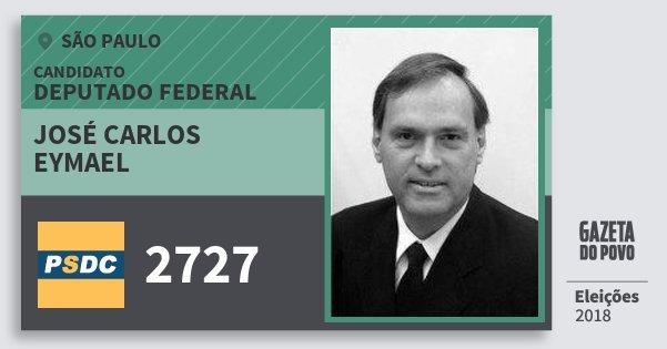 Santinho José Carlos Eymael 2727 (DC) Deputado Federal | São Paulo | Eleições 2018
