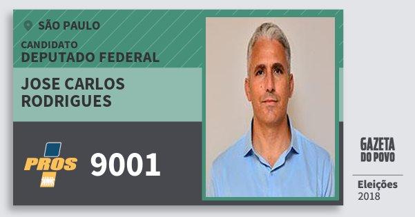 Santinho Jose Carlos Rodrigues 9001 (PROS) Deputado Federal | São Paulo | Eleições 2018