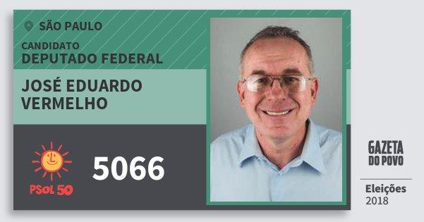 Santinho José Eduardo Vermelho 5066 (PSOL) Deputado Federal | São Paulo | Eleições 2018