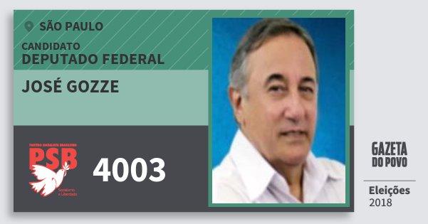 Santinho José Gozze 4003 (PSB) Deputado Federal | São Paulo | Eleições 2018