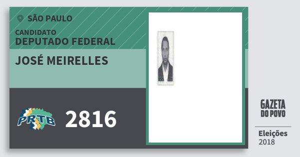 Santinho José Meirelles 2816 (PRTB) Deputado Federal   São Paulo   Eleições 2018