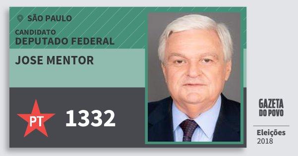 Santinho Jose Mentor 1332 (PT) Deputado Federal | São Paulo | Eleições 2018
