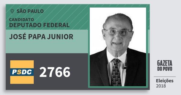 Santinho José Papa Junior 2766 (DC) Deputado Federal | São Paulo | Eleições 2018