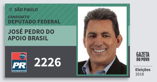 Santinho José Pedro do Apoio Brasil 2226 (PR) Deputado Federal | São Paulo | Eleições 2018