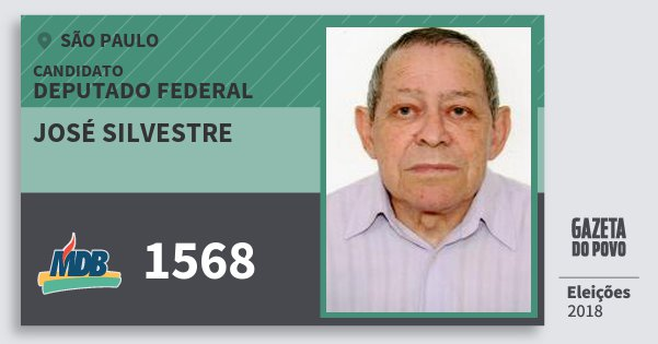 Santinho José Silvestre 1568 (MDB) Deputado Federal | São Paulo | Eleições 2018