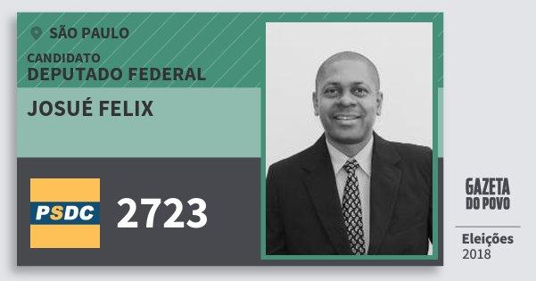 Santinho Josué Felix 2723 (DC) Deputado Federal | São Paulo | Eleições 2018