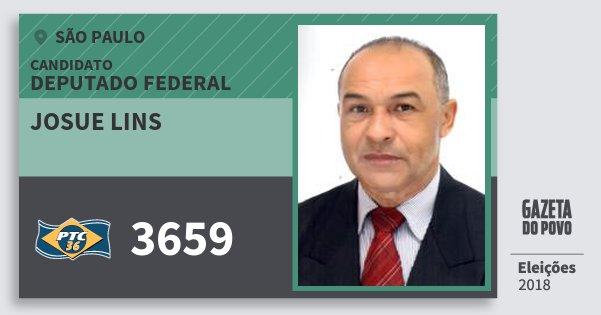 Santinho Josue Lins 3659 (PTC) Deputado Federal | São Paulo | Eleições 2018