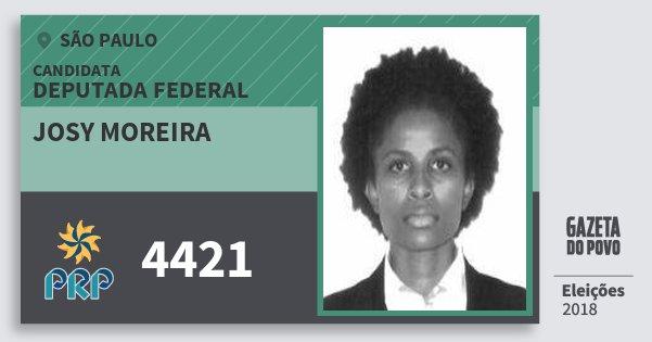 Santinho Josy Moreira 4421 (PRP) Deputada Federal | São Paulo | Eleições 2018