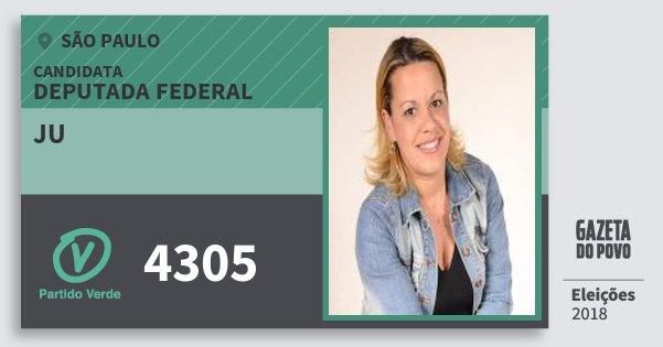 Santinho Ju 4305 (PV) Deputada Federal | São Paulo | Eleições 2018