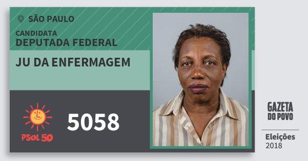Santinho Ju da Enfermagem 5058 (PSOL) Deputada Federal | São Paulo | Eleições 2018