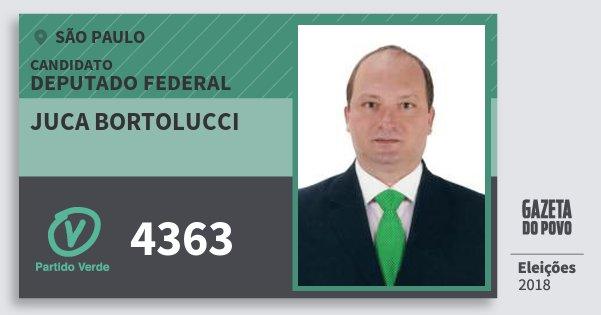 Santinho Juca Bortolucci 4363 (PV) Deputado Federal | São Paulo | Eleições 2018