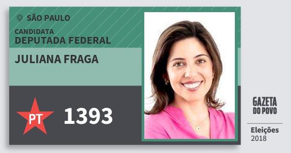 Santinho Juliana Fraga 1393 (PT) Deputada Federal | São Paulo | Eleições 2018