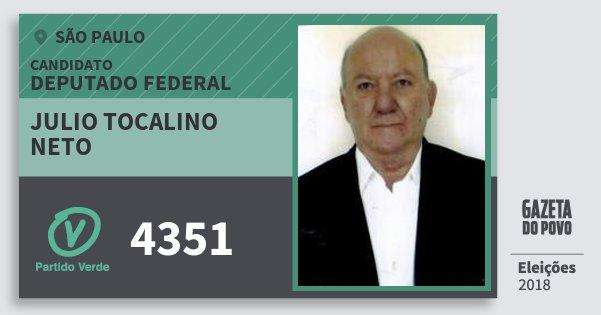 Santinho Julio Tocalino Neto 4351 (PV) Deputado Federal | São Paulo | Eleições 2018