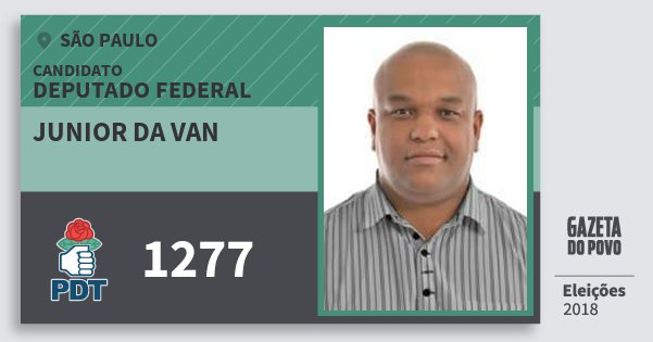 Santinho Junior da van 1277 (PDT) Deputado Federal | São Paulo | Eleições 2018