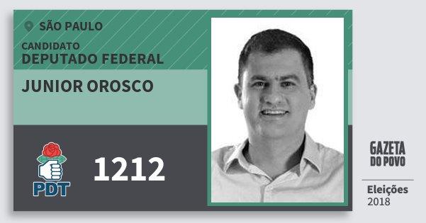 Santinho Junior Orosco 1212 (PDT) Deputado Federal | São Paulo | Eleições 2018