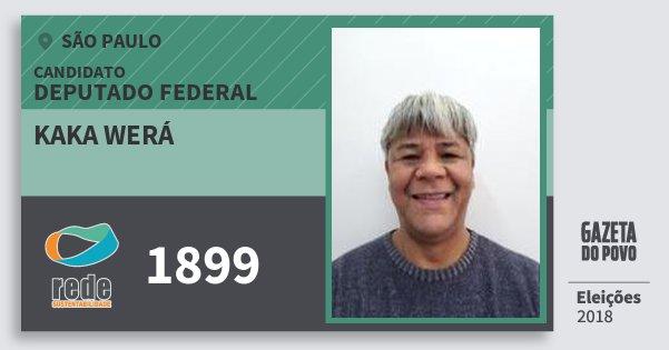 Santinho Kaka Werá 1899 (REDE) Deputado Federal   São Paulo   Eleições 2018