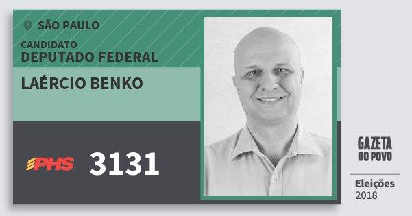 Santinho Laércio Benko 3131 (PHS) Deputado Federal | São Paulo | Eleições 2018