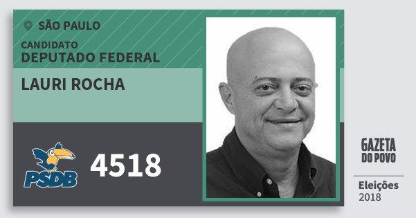 Santinho Lauri Rocha 4518 (PSDB) Deputado Federal | São Paulo | Eleições 2018