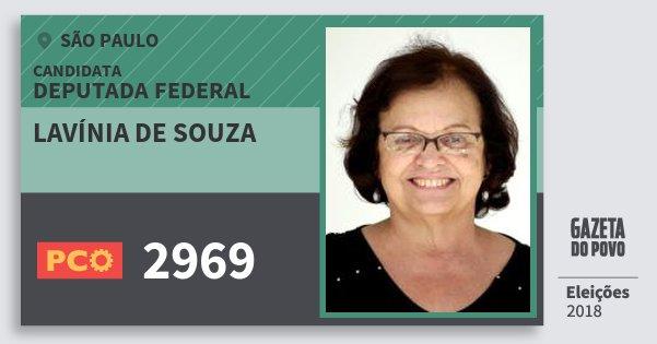 Santinho Lavínia de Souza 2969 (PCO) Deputada Federal | São Paulo | Eleições 2018
