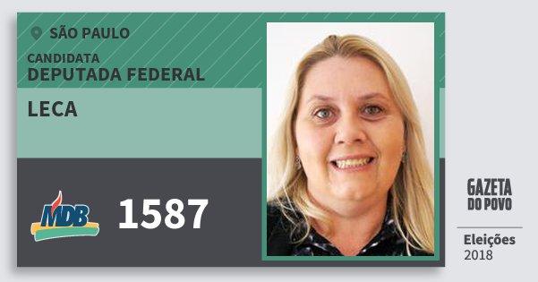 Santinho Leca 1587 (MDB) Deputada Federal   São Paulo   Eleições 2018