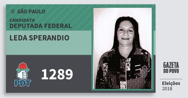 Santinho Leda Sperandio 1289 (PDT) Deputada Federal | São Paulo | Eleições 2018