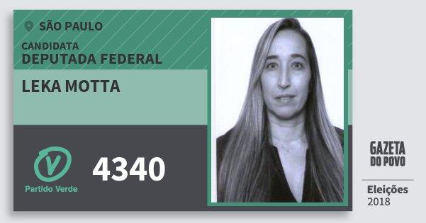 Santinho Leka Motta 4340 (PV) Deputada Federal | São Paulo | Eleições 2018
