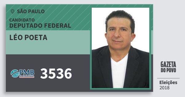 Santinho Léo Poeta 3536 (PMB) Deputado Federal | São Paulo | Eleições 2018