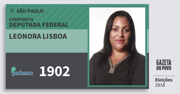 Santinho Leonora Lisboa 1902 (PODE) Deputada Federal | São Paulo | Eleições 2018