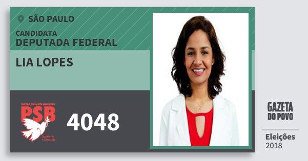 Santinho Lia Lopes 4048 (PSB) Deputada Federal | São Paulo | Eleições 2018