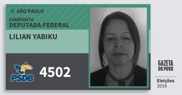 Santinho Lilian Yabiku 4502 (PSDB) Deputada Federal | São Paulo | Eleições 2018