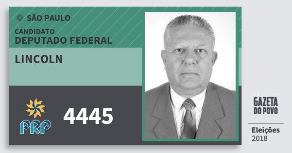 Santinho Lincoln 4445 (PRP) Deputado Federal | São Paulo | Eleições 2018