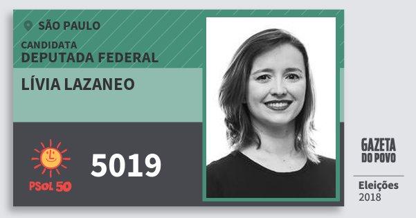 Santinho Lívia Lazaneo 5019 (PSOL) Deputada Federal | São Paulo | Eleições 2018