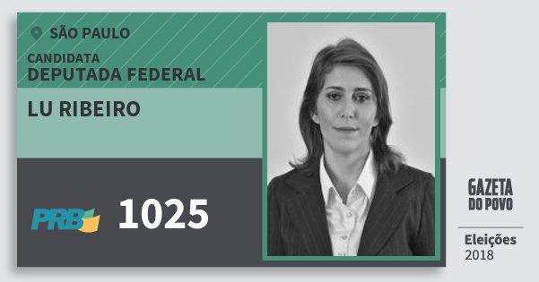 Santinho Lu Ribeiro 1025 (PRB) Deputada Federal | São Paulo | Eleições 2018