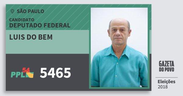 Santinho Luis do Bem 5465 (PPL) Deputado Federal | São Paulo | Eleições 2018