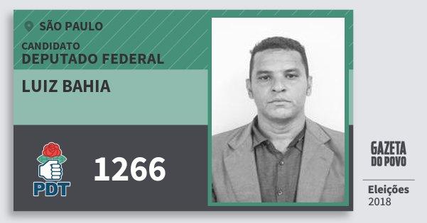 Santinho Luiz Bahia 1266 (PDT) Deputado Federal | São Paulo | Eleições 2018
