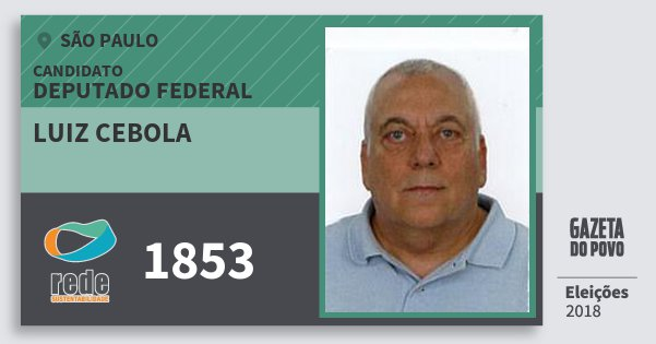 Santinho Luiz Cebola 1853 (REDE) Deputado Federal | São Paulo | Eleições 2018