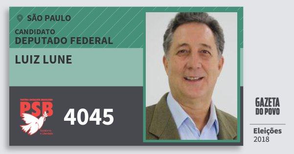 Santinho Luiz Lune 4045 (PSB) Deputado Federal | São Paulo | Eleições 2018