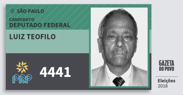 Santinho Luiz Teofilo 4441 (PRP) Deputado Federal | São Paulo | Eleições 2018