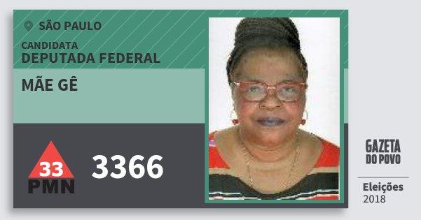 Santinho Mãe Gê 3366 (PMN) Deputada Federal | São Paulo | Eleições 2018