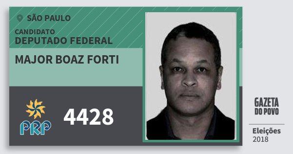 Santinho Major Boaz Forti 4428 (PRP) Deputado Federal | São Paulo | Eleições 2018